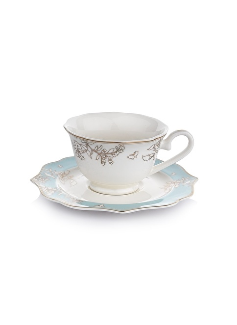 Schafer 12 Parça Dantella Çay Fincan Takımı - MAV01 Renkli
